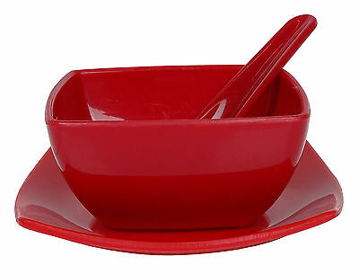 Saflona PP Plastic Microwave Safe Soup Bowl Plate With Spoon Pack Of 6 Pcs