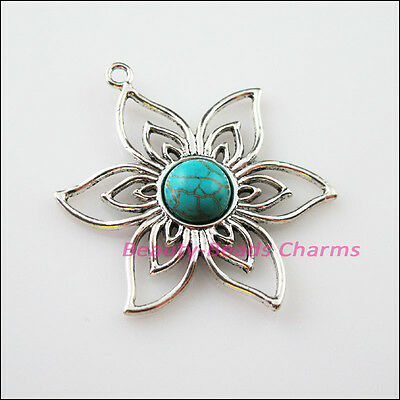 2 New Retro Charms Tibetan Silver Turquoise Flower Pendants Connectors 37.5x47mm