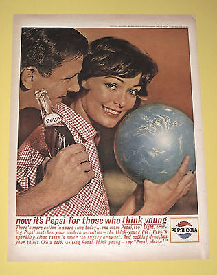 "Vintage 1963 Pepsi Cola Original Print Ad Bowling ""For Those Who Think Young"""