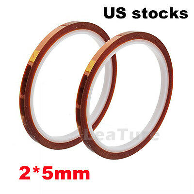 2X 5mm 33m 100ft Kapton Tape High Temperature Heat Resistant Polyimide US stocks