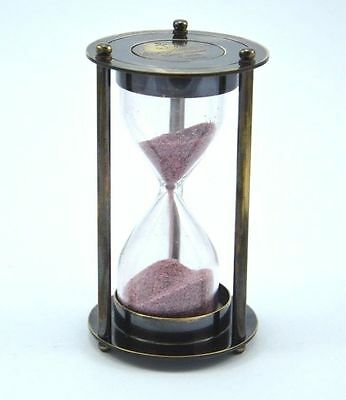 Brass Dorpmarket Sand timer Hour Glass With 1 Minutes Pink Sand Time inside