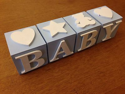 Baby Boy Letter Blocks, Blue with White Letters