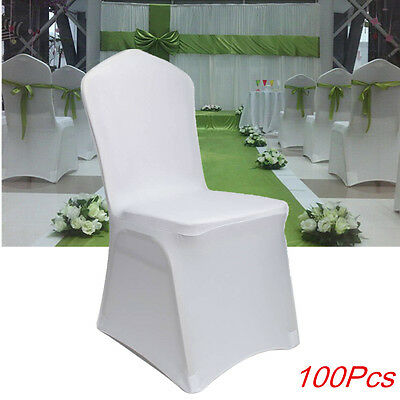 100X White Chair Cover Spandex Lycra Wedding Banquet Party Decor Flat Front