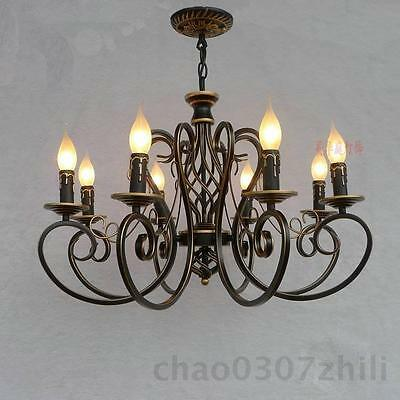 Vintage Chandelier Ceiling Lamp 6/8 Candle Iron Lights Lighting E14 Fixtures