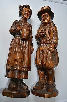 Pair Antique French Breton Sculpture Carving Wood