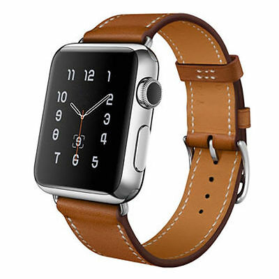Apple watch iwatch brown premium leather single tour strap watchband 38 mm