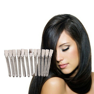 12Pcs Salon Hairdressing Sectioning Clips Clamps Hair Curl Pin Styling Silver