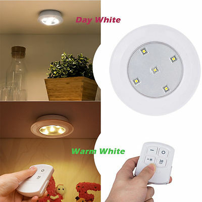 Stick On Kitchen Under Cabinet Cupboard Wireles Battery LED Light Remote Control