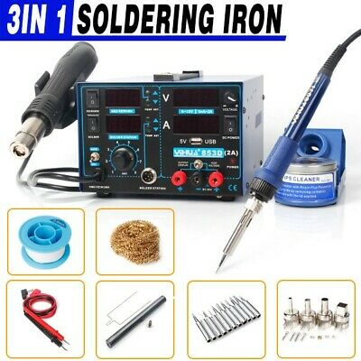 GENUINE YIHUA 853D 2A 3in1 HOT AIR GUN REWORK SOLDERING STATION DC power supply
