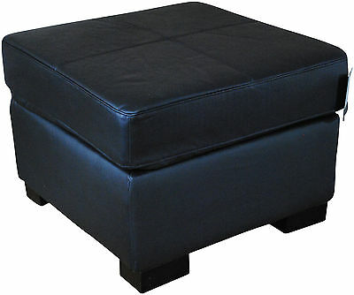 Genuine BRAND NEW Real Leather BLACK Footstool Pouffe