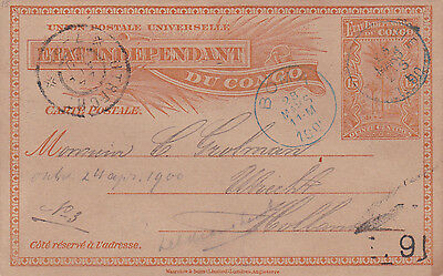 Congo : 5 Cents Postcard Sent From Brazzaville To Utrecht, Netherlands (1900)