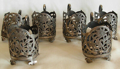 SET OF 6 OLD PERSIAN 84 SILVER HAND SAWED- SMALL CUP / GLASS HOLDERS- 335 grams-