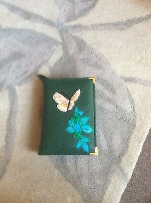 Genuine Bottle Green/ motif butterfly Bible cover for NW Translation  (DLbi12-E)