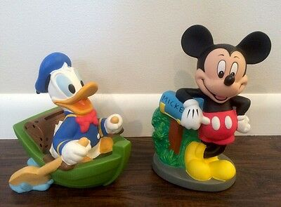 Vintage Disney Donald Duck Row Boat Mickey Mouse Mailbox Coin Money Piggy Banks