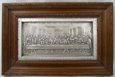 SILVER Metal 3D Framed Picture  LAST SUPPER Very Detailed in Wooden Frame Patina