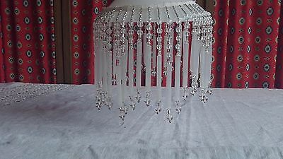 Vintage French Beautiful Glass Beaded Fringe Trim & band for a Lamp