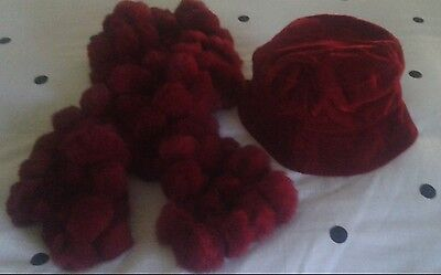 "Vintage Red ""Velvet"" Bucket Hat With Matching Rabbit Fur Scarf"