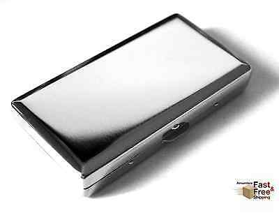 Cigarette Case Double Sided King 100s PLAIN Pattern Victorian Style Silver Color