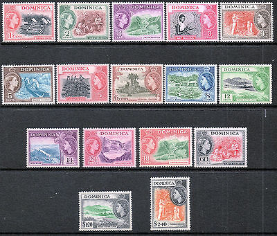 Commonwealth Dominica 1954 QEII set of mint stamps value to $2.40 LMM