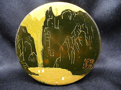Unusual Antique Chinese lacquer Box with Gold Details and Mark