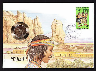 Numisbrief 1990 Tchad Chad African Africa Stamp Cover with Coin