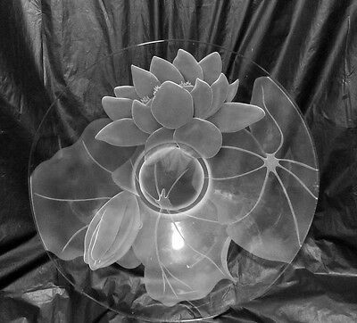 """Vintage Water Lily Etched Glass Console Centerpiece Bowl 13 1/2"""" W LQQK!"""