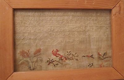 antique early 19th century hand embroidered figural sampler needlepoint art
