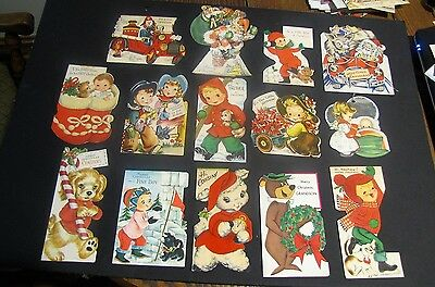 Lot Vintage 40/50s Christmas Cards Hallmark Gibson Rustcraft die cut kids great!