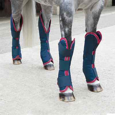 Shires Pony/Horse Travel Boots - Navy/Red/White