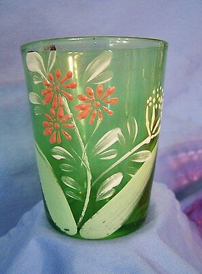 Antique Art Glass Tumbler Cup GREEN w Enamel Flowers & Gold c1920 MOSER