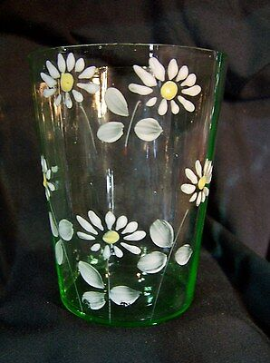 Antique Victorian Art Glass Tumbler Cup w HP Enamel Flowers c1890 GREEN Moser