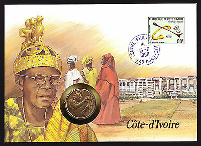 Numisbrief 1990 Ivory Coast Cote D'Ivoire African Africa Stamp Cover with Coin