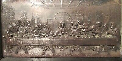 high quality antique silver plated religious last supper Jesus wall plaque frame