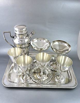 MIXED LOT Vintage SILVERPLATE BARWARE Goblets, Shaker, Coasters & Tray