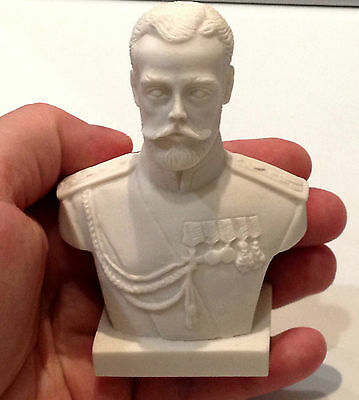 bust Russian Emperor Nicholas II figurine marble chips sculpture Tsar of Russia
