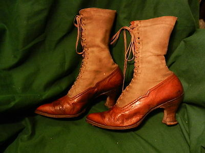 Antique Ladies Shoes Victorian Lace-Up Leather W/canvas Upper Body