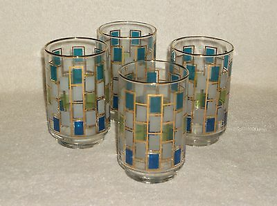 Libbey Art Deco Tiles Tumbler Water Drinking Glasses Set of Four