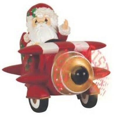 Precious Moments SANTA IN PLANE LED FIGURINE Propeller Lights Up! 2010 Christmas