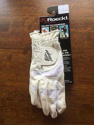 Roeckl Riding Gloves White Leather  SZ 7 #3301-224 Horse Show Riding Gloves NEW