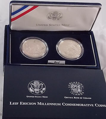 Leif Ericson 2 coin Proof Silver Mint Set US & Icelandic Millennium 2000 w/case