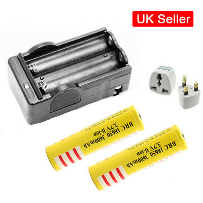 Dual 18650 Battery Charger Rechargeable for 18650 Battery with 2 Batteries UK