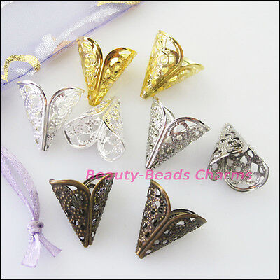 35Pcs Leaf Flower Cone End Bead Caps Connectors 16mm Gold Silver Bronze Plated