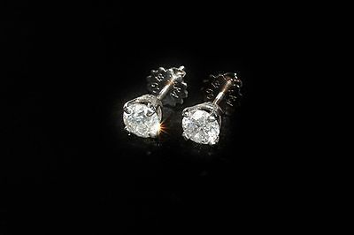 Diamond Solitaire Earrings 1ct White Gold 18ct Solid Hallmarked F colour New