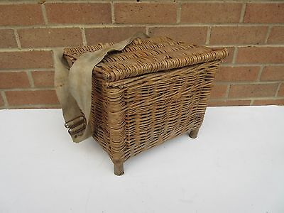 Vintage old small wicker fishing box creel basket .