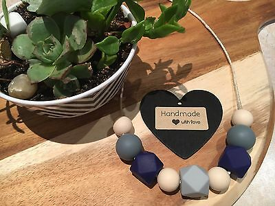 Silicone Sensory Baby (was teething) Necklace for Mum Jewellery Beads Aus Navy