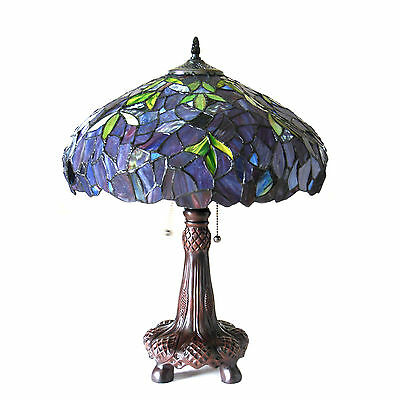 """Katie Wisteria Tiffany Style Stained Glass Table Lamp 16"""" Shade Antique Bronze"""