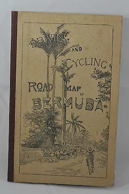 "Antique 1911  ""driving & Biking"" Bermuda Bicycle Fold Out Map"