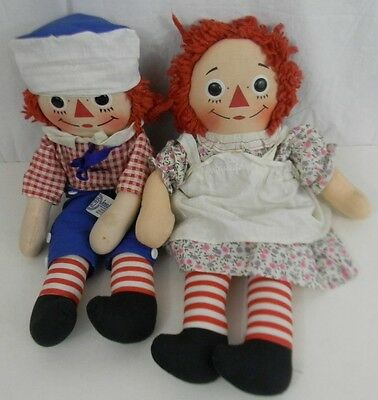 Vintage Gruelle Knickbocker Raggedy Ann & Andy Dolls 1965 Hat Dress Pinafore Old