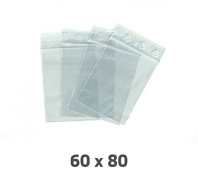 Lot 100 Sachet Plastique Transparent Zip Ziploc Dimensions 80 X 60 Mm / 60 X 80