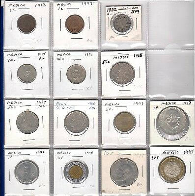 Mexico lot of 14 coins 1882-1998 - many high grade